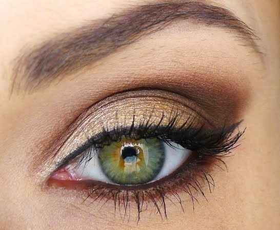 Light Gold for eyelid, with dark brown on the edge of the eye and lower lash