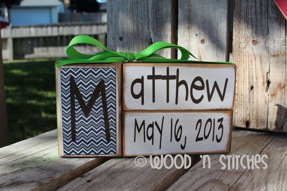 Baby boy girl family primitive name blocks wood by jodyaleavitt