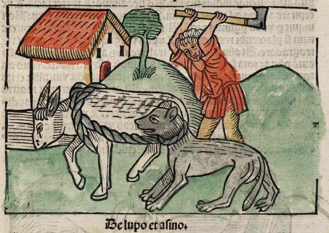 Moraleja de la fábula el lobo y el asno: Muchas veces los más fuertes son engañados por el más débil. http://www.fabulasdeesopo.es/fabulas-de-animales/el-lobo-y-el-asno/
