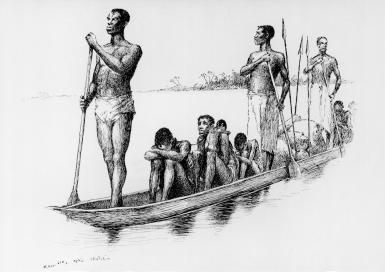 African Slave Traders: African slave traders transport shackled captives in a dugout canoe to sell them downriver as slaves, Congo Free State, 1890.