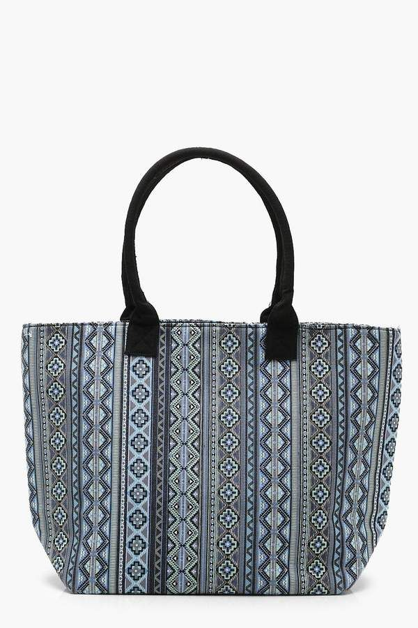 Boohoo Aztec Oversized Beach Bag