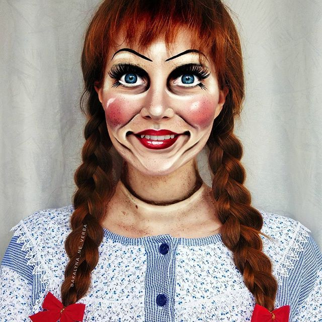 Finally! The time has come!  More horrifying, bloodcurdling, more gory makeups in anticipation of Halloween!   And I wanna start with Annabelle doll transformation, inspired by the  amazing artists @nikki.paint and @ellimacssfx    _______  (P.S. Never had such kind of a doll. Their eyes always scared me )  ________   #annabelle #annabellecreation #annabellemakeup #dollmakeup #igerskiev #kievgram #cosplay #cosplaygirl #cosplayersofinstagram #hairandmakeupinspiration #makeupart #mua  #cr...