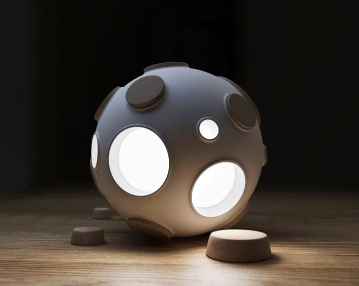Moon Lamp That Lights Up When You Remove Corks From Its Craters