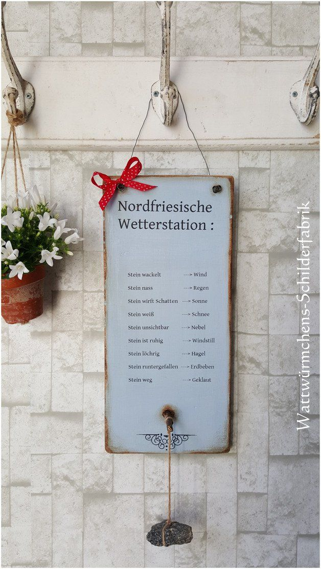 *Nordfriesische Wetterstation* Witziger Wetterstein für den Garten, Balkon oder Hauseingang :-) Die Region kann auf Wunsch…