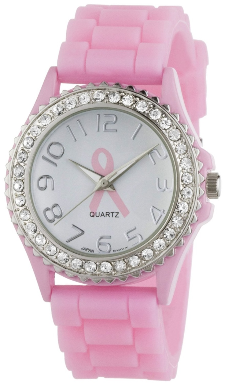 """Golden Classic Women's 2219_BC """"Savvy Jelly"""" Rhinestone Pink Breast Cancer Awareness Silicone Watch"""