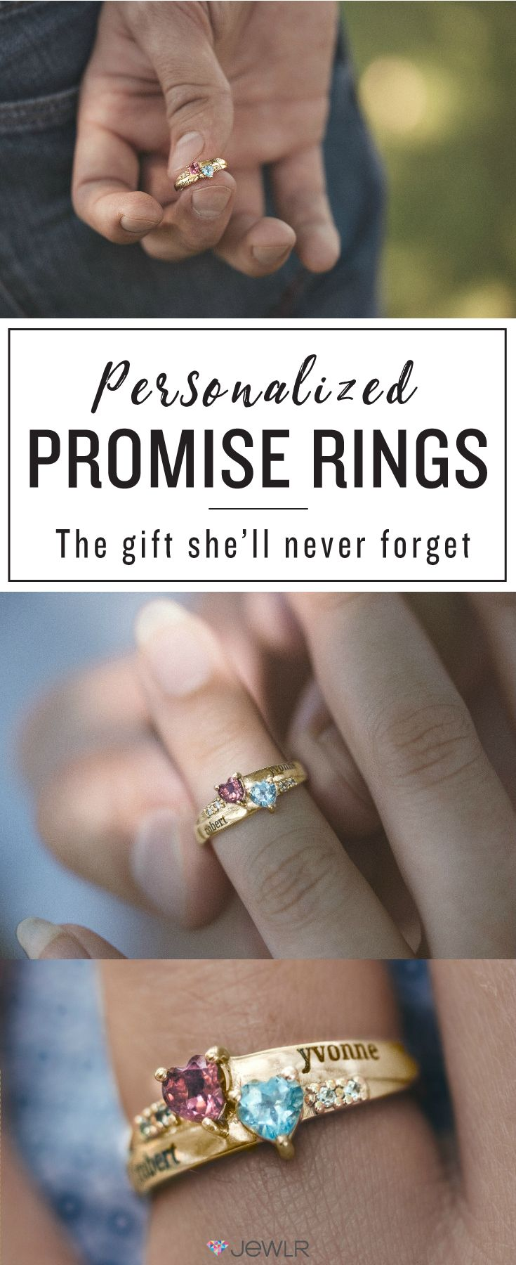 Only the best boyfriends shop at Jewlr! Suprise that special someone with a personalized promise ring, custom-made just for them. Personalize your ring in sterling silver, white, yellow or rose gold with your choice of gemstones and engravings. Free shipping, free returns and a free bonus gift with every purchase!