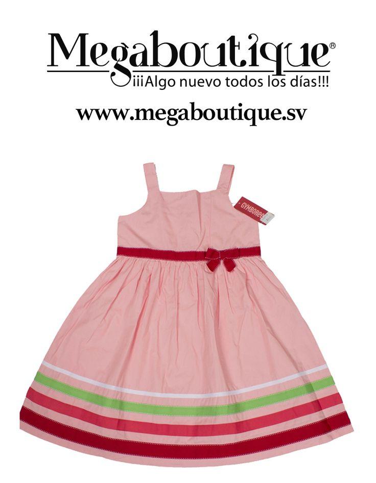 VESTIDO INFANTIL COLOR ROSA CON FRANJAS DE COLORES TALLA 8 ANOS CON ETIQUETA $34.75. PRECIO $18.00