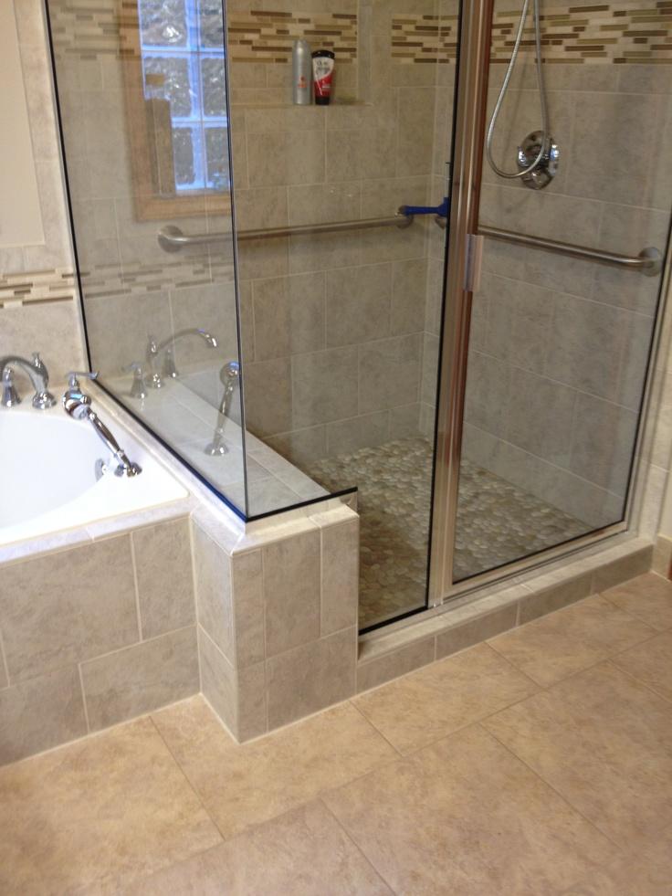 Tile Shower Bench Bath Spas Pinterest Pebble Floor