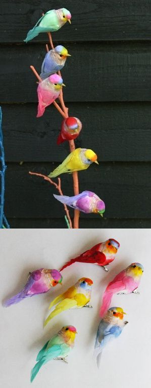 Fake - The top image is being pinned as real birds. - They are clip on decorations by Petra Boase on notonthehighstreet.com that come in a sets of 3, 6(bottom image) or 12.