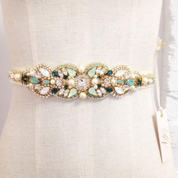 Opal Gold and Emerald Green Bridal Belt- Mint Wedding- Swarovski Crystal Bridal Sash- One-of-a-Kind Hand-Beaded -Vintage Glamour