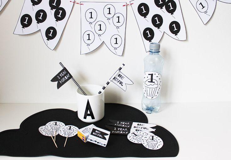 party printables monochrome verjaardag kind. Print nu monochrome versiering voor de eerste verjaardag #printables #firstbirthday #eersteverjaardag #kinderverjaardag #partydecoration