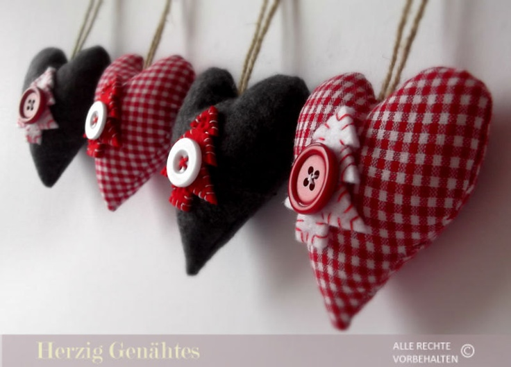 Christmas Tree Decoration Fabric Ornament red and grey