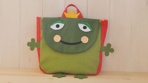 """Backpack """"Cra cra"""" (Beautiful colors for this frog shape backpack, 100% cotton, adjustable straps, easy velcro closure and lining inside)"""