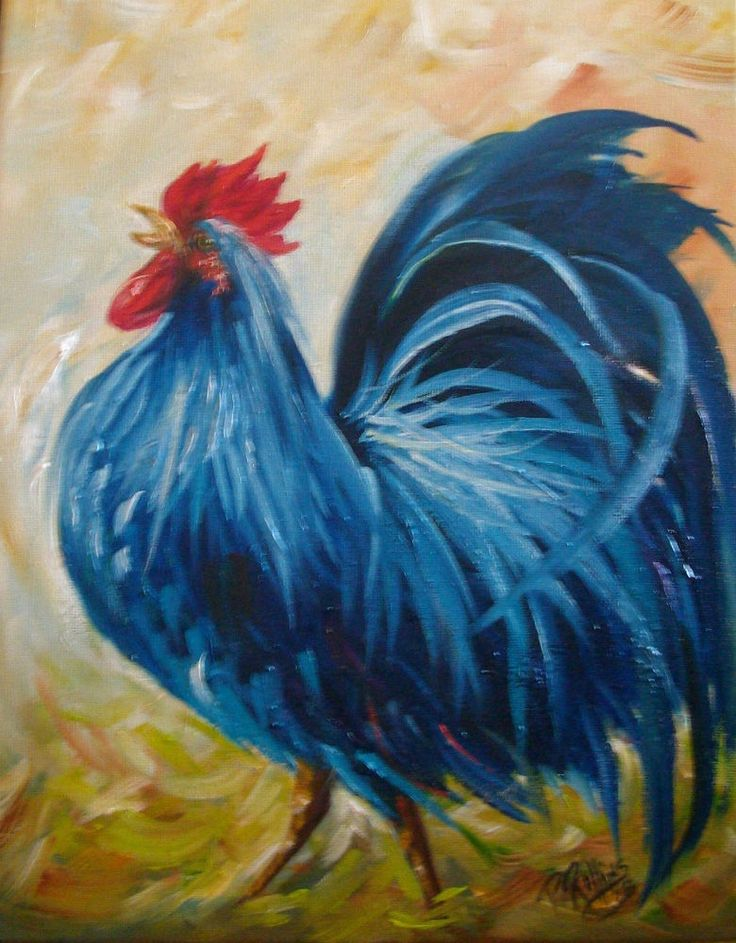 ROOSTER CROWING BLUE CHICKEN PAINTING 11x14 CANVAS ORIGINAL PAT ROLLINS OUTSIDER #Outsider
