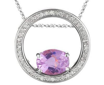 Kunzite 114 pinterest 14 021 027 ct diamond and kunzite pendant in 14k white mozeypictures Gallery