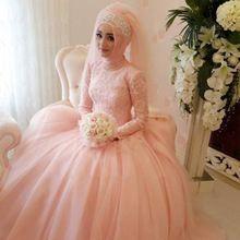 Великолепная Арабского Мусульманского Свадебное Платье Сшитое Кружева Аппликации Свадебные Платья Высокая Шея С Длинным Рукавом Хиджаб Свадебные Платья(China (Mainland))