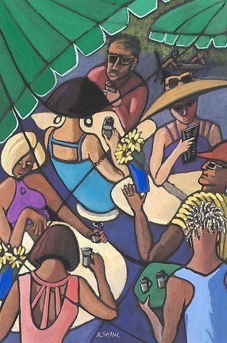 Australian artist Doreen Shaw   Cafe   GOUACHE 38 x 30 cm