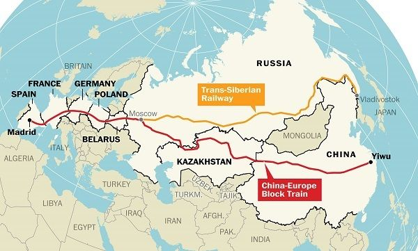 Map: The world's longest train journey now begins in China and ends in Spain - The Washington Post
