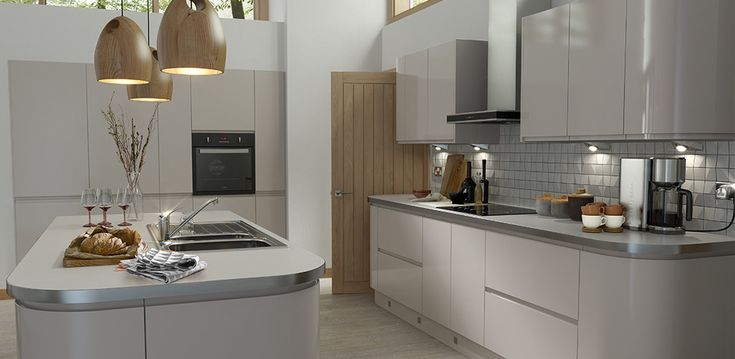 Handleless Cashmere Gloss Kitchen - cashmere against white walls works!