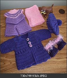 Complete purple outfits. top pants,Tam  Coat and boots to match Crochet  All patterns on this site.