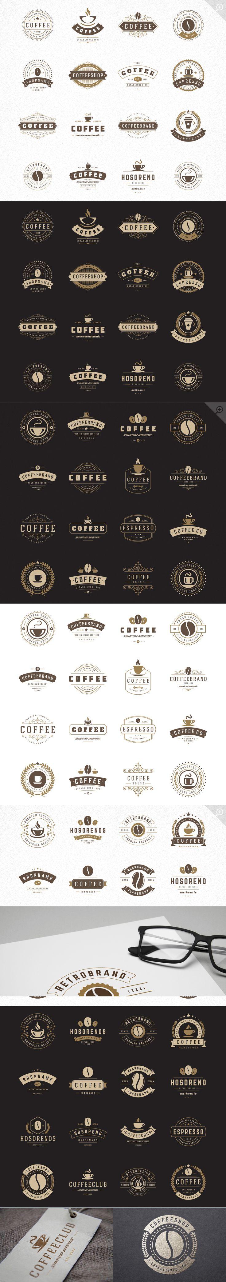 48 Coffee Logotypes and Badges #design Download: https://creativemarket.com/VasyaKo/382432-48-Coffee-Logotypes-and-Badges?u=ksioks