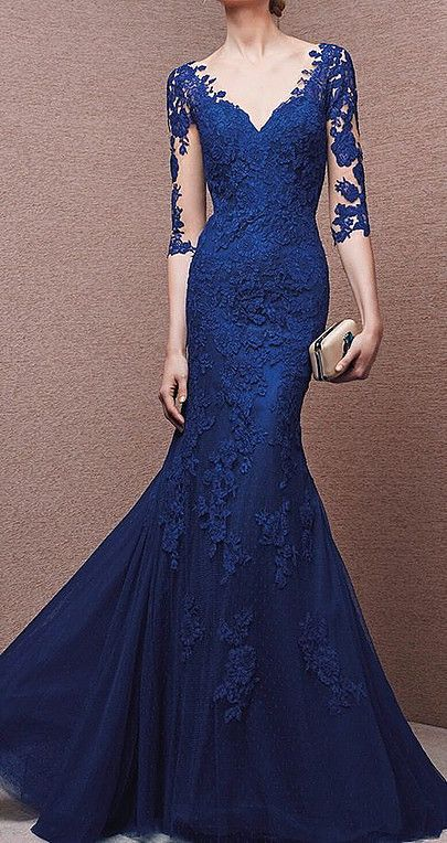 Long Sleeve evening gowns for the mothers of the wedding.  This blue lace evening gown has a v neck line. A suitable design for the mother of the bride dress.  We can recreate this design for you in any color, size or with any changes.  See other #motherofthebridedresses at http://www.dariuscordell.com/featured_item/custom-made-mother-of-the-bride-evening-dresses/