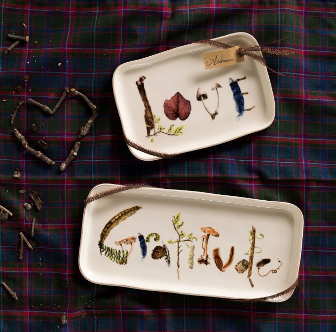 Decorated with treasures found on the forest floor, our Love and Gratitude gift trays double as place cards or party favors for you or your favorite hostess!