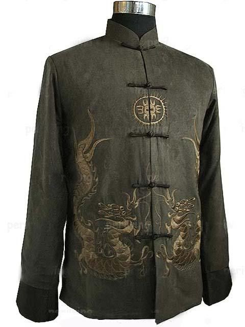Chinese Tradition Embroidered dragon Men Dragon Kung Fu Shirt Jacket/Coat Vest