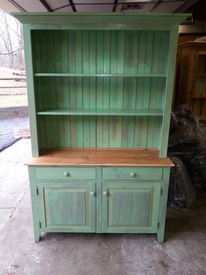Antique Reclaimed Barn Wood Hutch, China Cabinet   Unfinished   Pine Wood      Any Size Can Be Built   Custom Sizes Available.