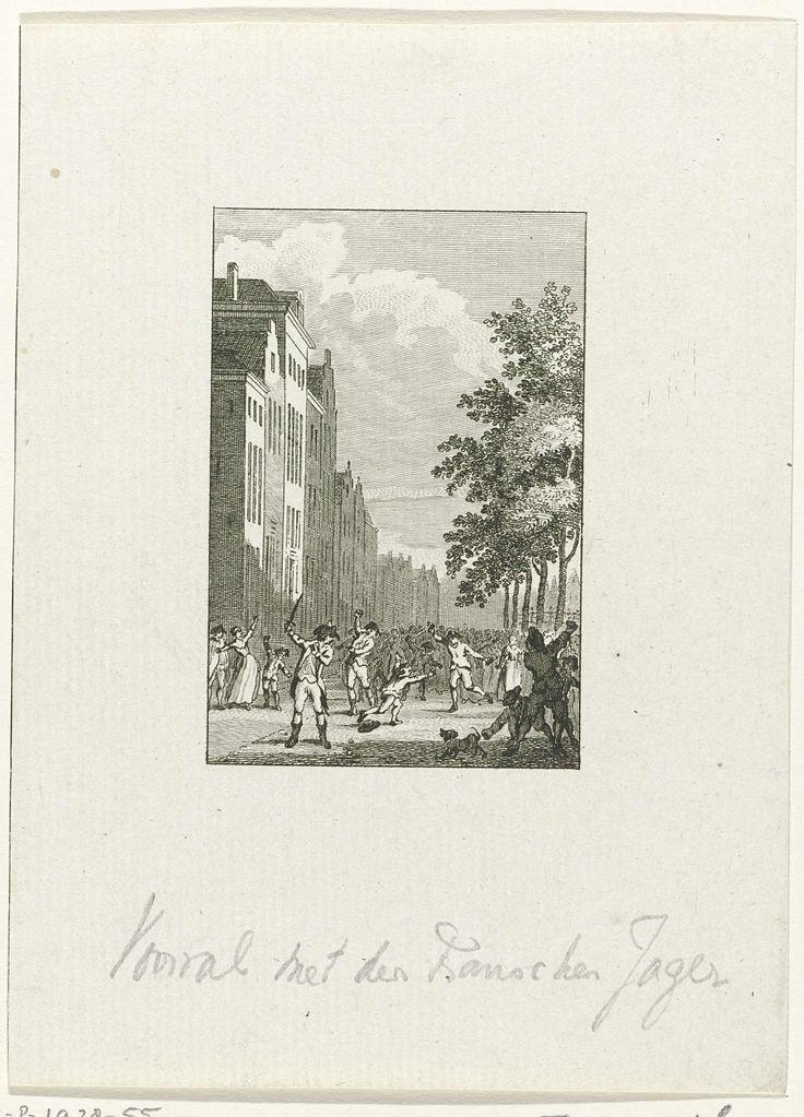 Reinier Vinkeles | Incident met de jager van de Franse ambassadeur, 1788, Reinier Vinkeles, Cornelis Bogerts, Jacobus Buys, 1788 - 1795 | Incident met de jager van de Franse ambassadeur de Graaf de St. Priest, 6 juli 1788. De jager veroorzaakte een oploop op de Turfmarkt omdat hij zonder Oranjekleur op straat ging, in het tumult raakten twee kinderen gewond.