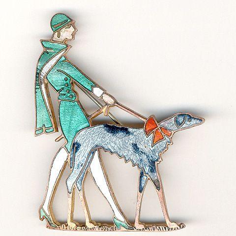 Silver Brooch Woman Walking Dog Uk