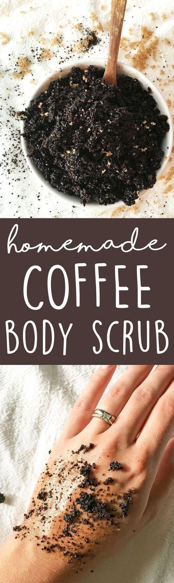 DIY Coffee Body Scrub - this 3-ingredient homemade body scrub recipe is great for dry skin & exfoliating. LOVE it! | thecrunchychronic... -…