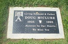 """Celebrity Headstones> Doug McClure- Actor, best known for his role of the cowboy 'Trampas' in TV series """"The Virginian""""."""