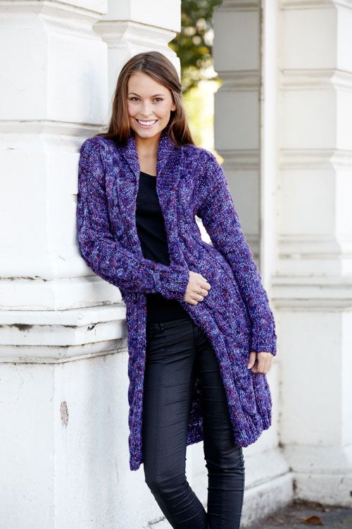 Fiordaliso Long Cardigan free knitting pattern from