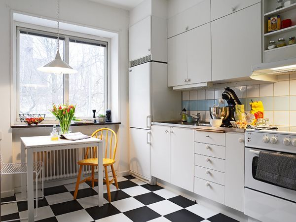 white cabinet - black and white floor