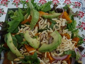 Pumpkin Avo Salad with almonds