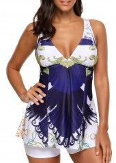 Printed Padded Criss Cross Back Tankini Set on sale only US$31.47 now, buy cheap Printed Padded Criss Cross Back Tankini Set at liligal.com