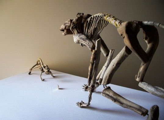 Fragile Skeletons: Dynamic Animal Sculptures Made from Salvaged Driftwood