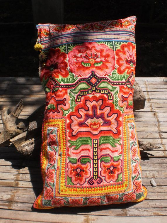 Hmong Hilltribe Vintage Upcycled Textile Cushion by KulshiMumkin, $42.00