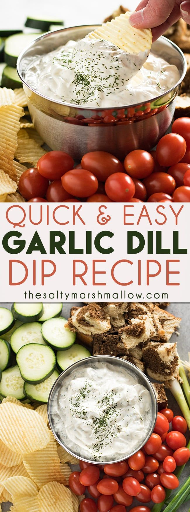 This easy dill dip is creamy and flavorful, and ready in minutes! Dill dipis great served with your favorite fresh chopped vegetables, chips, crackers, and toasted bread! #dip #dilldip #dill #thesaltymarshmallow #snacks