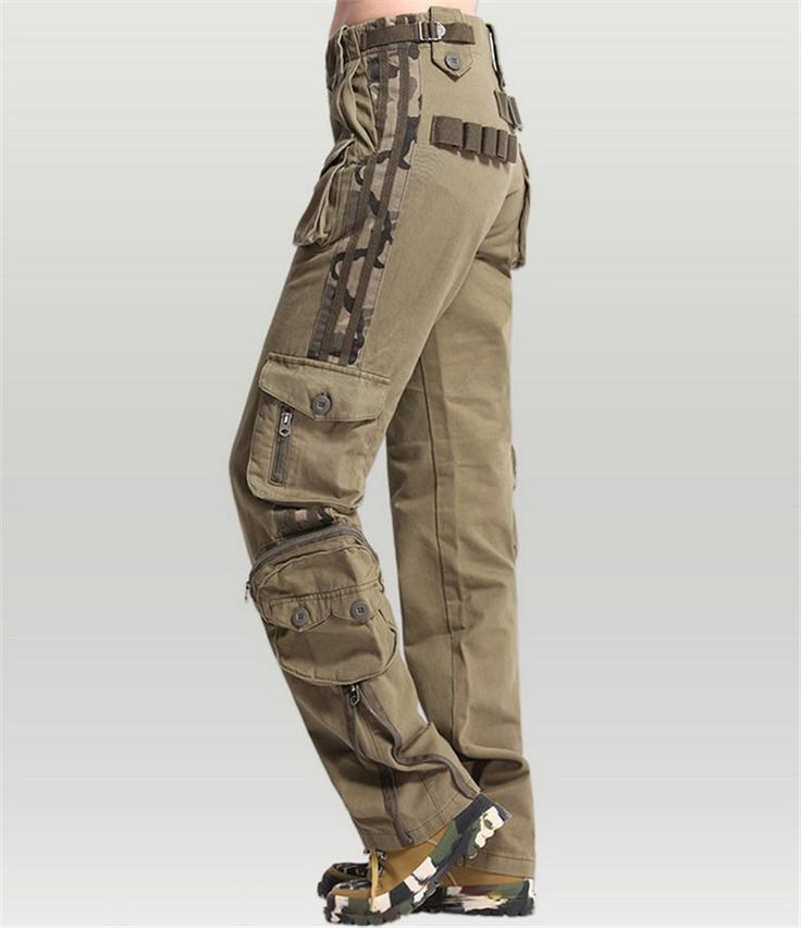 Womens Pants Casual Khaki Mid Waist Cargo Pants Military Ladies Pockets Pants Couple's Outdoors Trousers