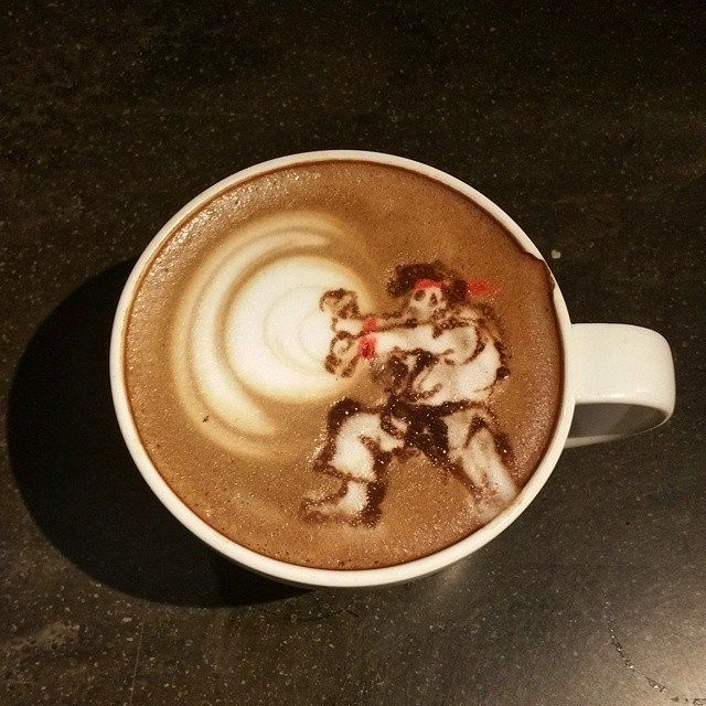 This is, without a doubt, the greatest art you will ever see swirled into a latte'. When you start your day with a Hadouken, you know your day is going to b