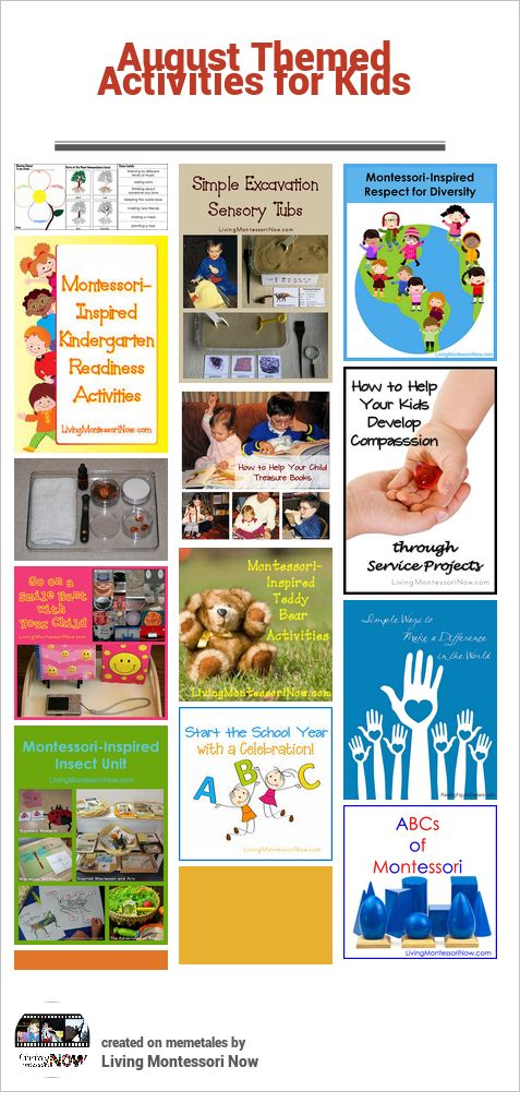 August Themed Activities for Kids (calendar observances throughout the month with related themes that can be used for mini-units or unit studies)