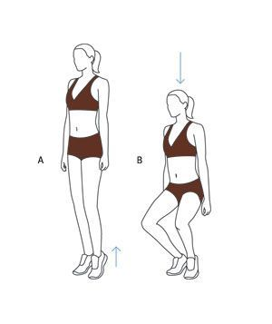 Trim Your Inner Thighs With Easy Exercises!  Move 2: First-Position Plié Squat  Begin with heels touching and toes slightly turned out. (A) Keeping heels together, rise up onto your toes. (Hold on to a wall if you feel wobbly, but maintain posture.)    (B) Bend your knees into a half squat for two counts, then come back up in two counts, keeping heels together. workout plans, workouts #workout #fitness