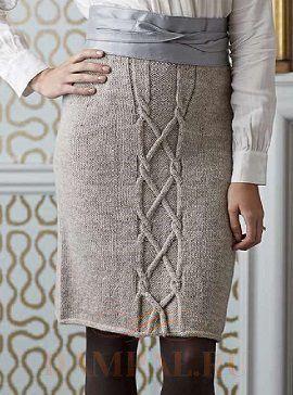 Вязаная юбка-карандаш со жгутами | DAMские PALьчики. ru
