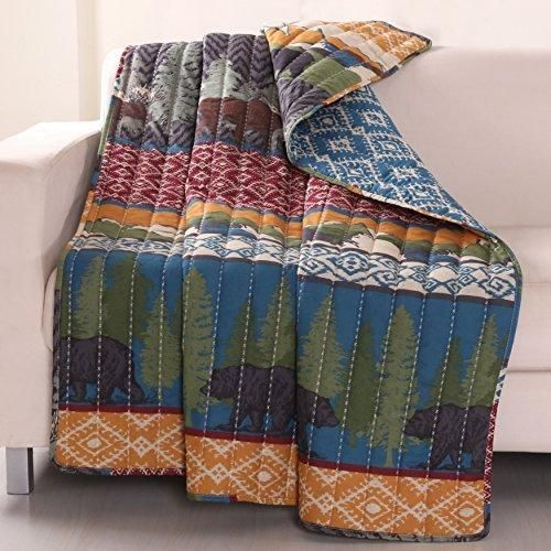 50x60 Green Brown Animal Throw Blanket Blue Red Nature Wild Life Bear Themed Bedding Diamond Jacquard Geometric Pattern White Orange Quilted Forest