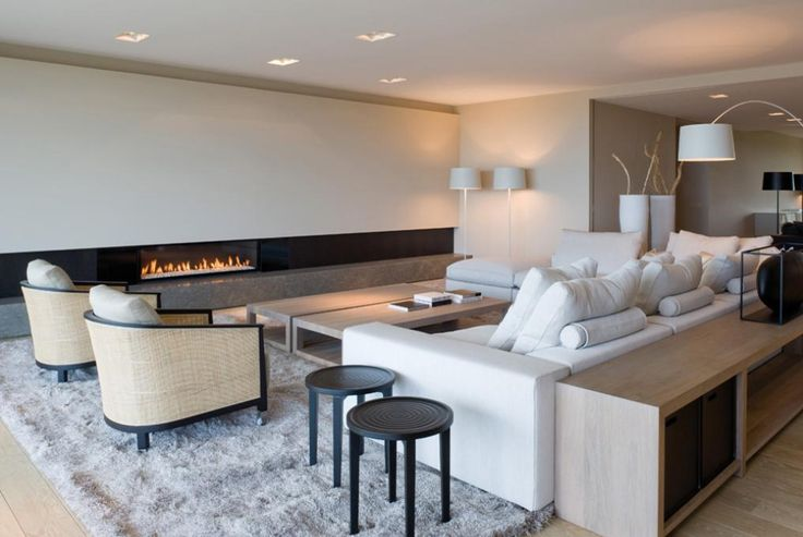 linear contemporary fireplace || Lof coffee table @ RR-Interieur