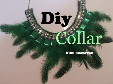 M Diy. Collar con plumas verdes - YouTube