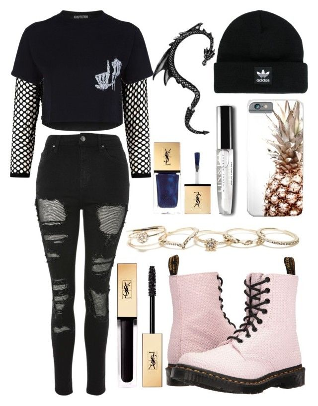 """""""outfit"""" by kwharmony on Polyvore featuring Topshop, Adaptation, Dr. Martens, adidas, GUESS and Yves Saint Laurent"""