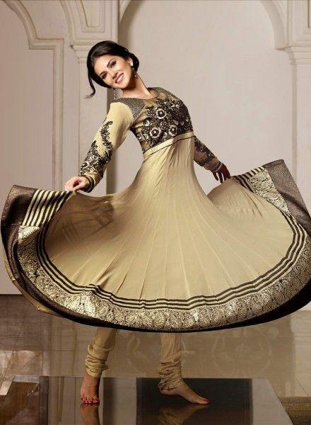 Designer Sunny Leone  Beige Anarkali With Chudidar .  Buy at - http://www.gravity-fashion.com/women/salwar-kameez/designer-sunny-leone-beige-anarkali-with-chudidar.html